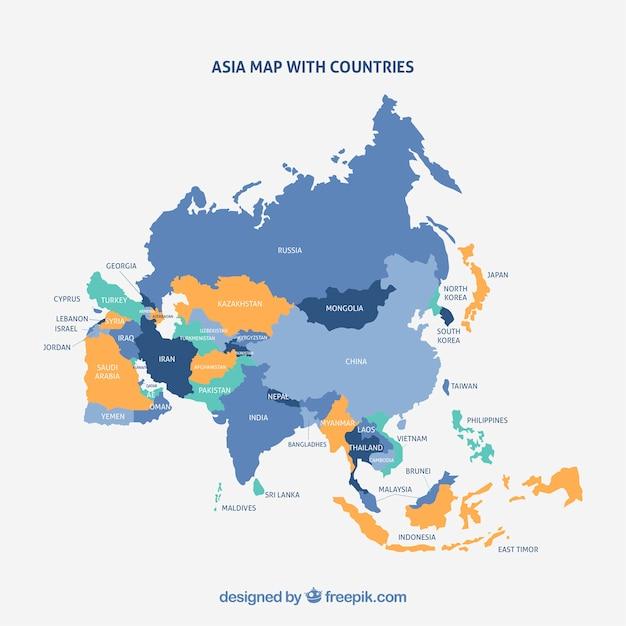 Mappa del continente asiatico con colori diversi Vettore gratuito