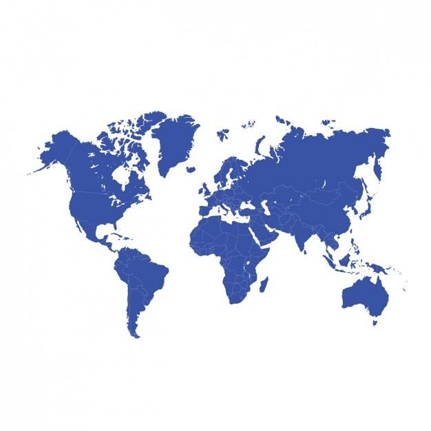 Mappa del design mondiale blu Vettore gratuito