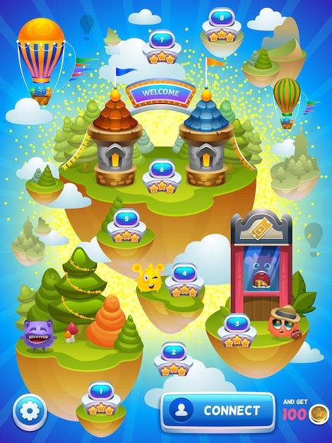 Mappa del gioco Vettore Premium