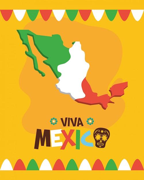 Mappa del messico con bandiera per viva mexico Vettore gratuito