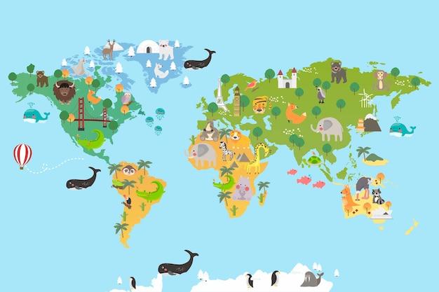 Mappa del mondo animale Vettore gratuito