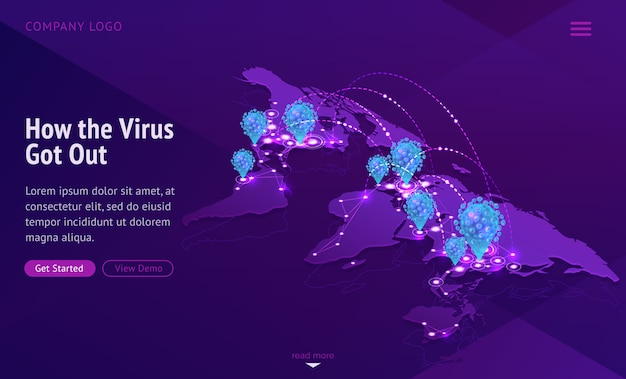 Mappa del mondo che mostra la diffusione della malattia contagiosa Vettore gratuito