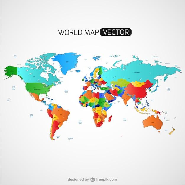 Mappa del mondo colorato vettore Vettore gratuito