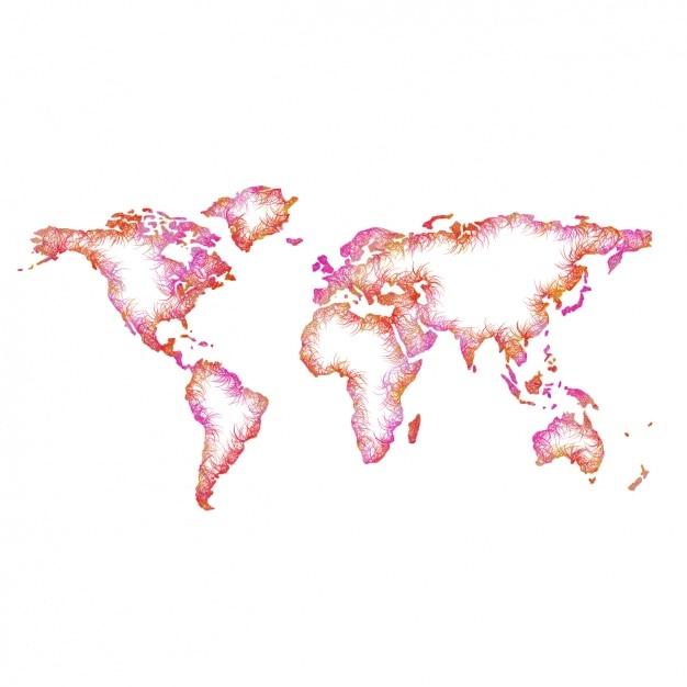 Mappa del mondo colorato scaricare vettori gratis - Mappa del mondo contorno ks2 ...
