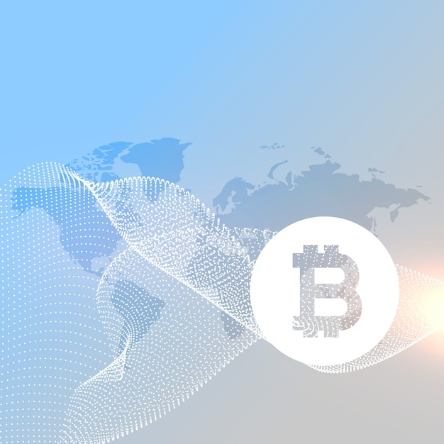 Mappa del mondo con il vettore di simbolo di bitcoins Vettore gratuito