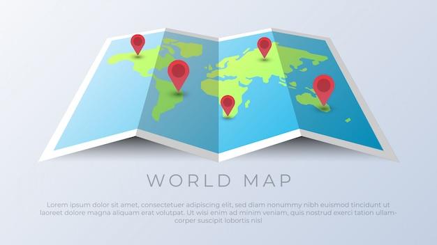 Mappa del mondo con perni di geolocalizzazione Vettore Premium