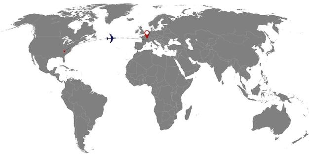 Mappa del mondo con pista piana. illustrazione vettoriale Vettore Premium