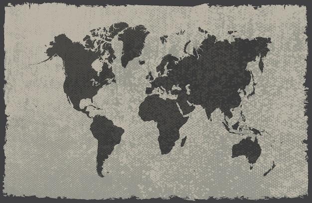 Mappa del mondo del grunge Vettore Premium