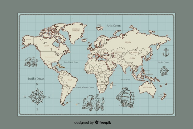 Mappa del mondo design digitale vintage Vettore gratuito
