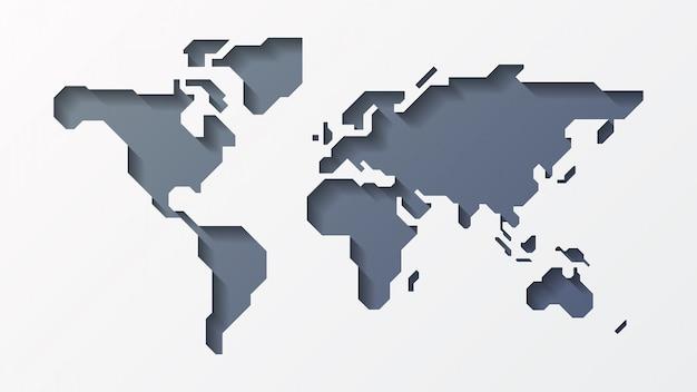 Mappa del mondo di carta 3d Vettore Premium
