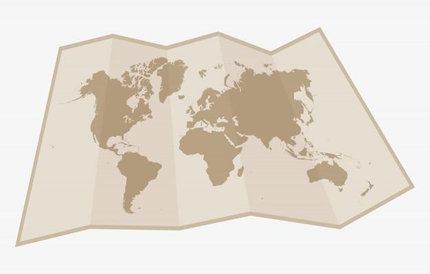 Mappa del mondo di carta Vettore Premium