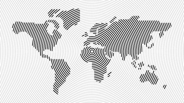 Mappa del mondo di linea radiale astratta Vettore Premium