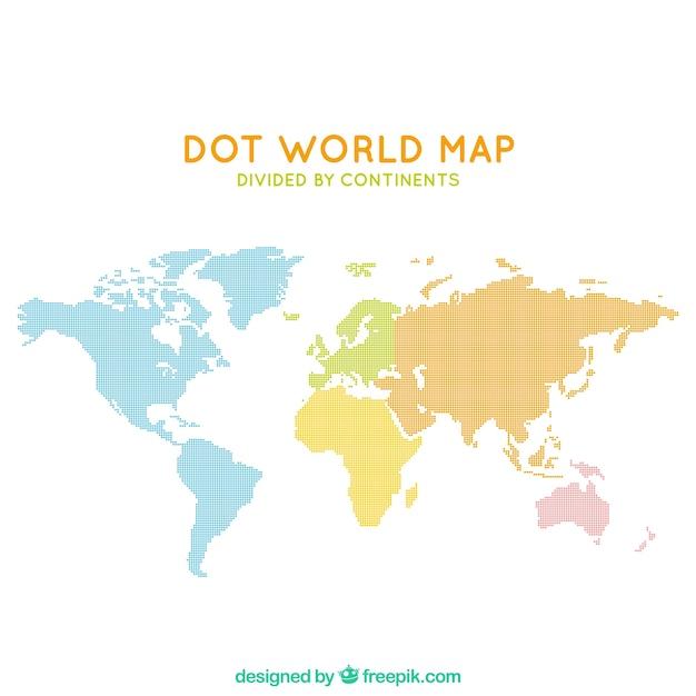Cartina Del Mondo Con Continenti.Mappa Del Mondo Di Punti Divisa Dai Continenti Vettore Gratis