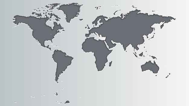 Mappa del mondo grigia Vettore Premium