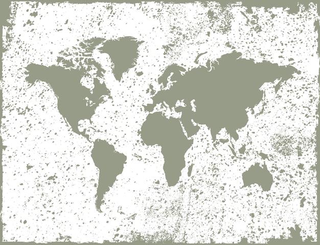Mappa del mondo grunge Vettore Premium