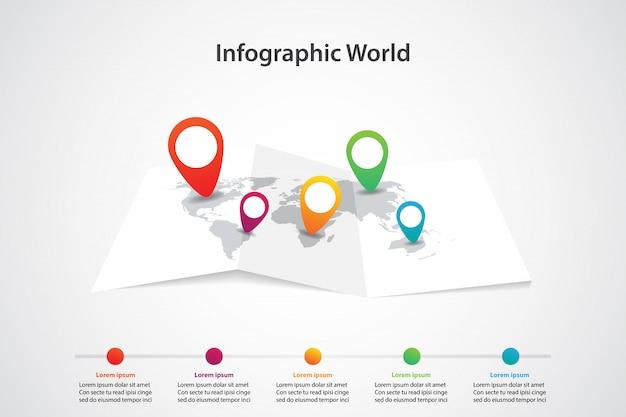 Mappa del mondo infografica, comunicazione dei trasporti e posizione del piano informativo Vettore Premium