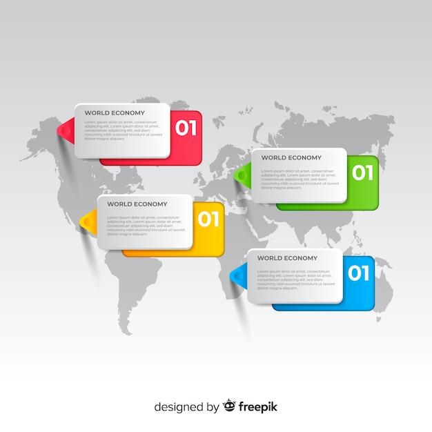 Mappa del mondo infografica con caselle di testo Vettore gratuito