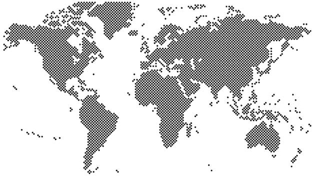 Mappa del mondo mezzotono nero Vettore Premium