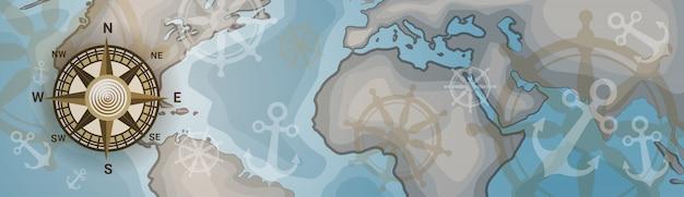 Mappa del mondo orizzontale banner retro vintage style of continents Vettore Premium