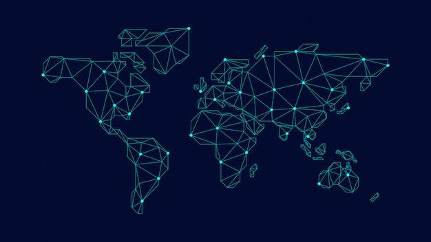 Mappa del mondo poligonale blu Vettore Premium