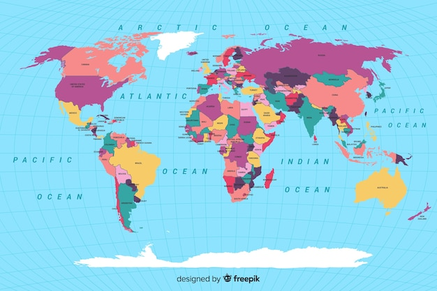 Mappa del mondo politico colorata Vettore gratuito