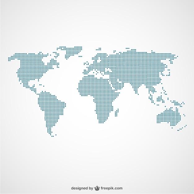 Mappa del mondo puntini template Vettore gratuito