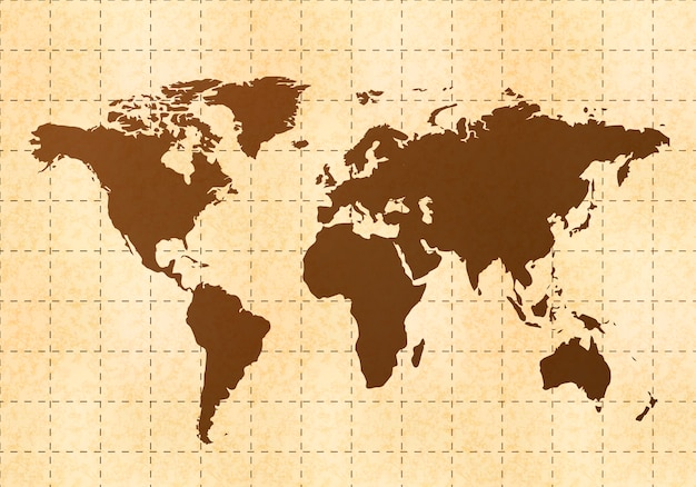 Mappa del mondo retrò su carta vecchia con texture Vettore Premium