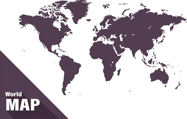 Mappa del mondo su sfondo bianco Vettore Premium