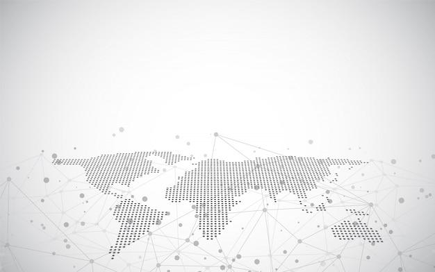 Mappa del mondo su un background tecnologico, linee luminose simboli di internet, radio, business globale. Vettore Premium