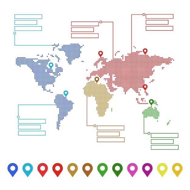 Mappa del mondo tratteggiata con segni di puntatore e posti di testo. concetto per il tuo design. Vettore Premium