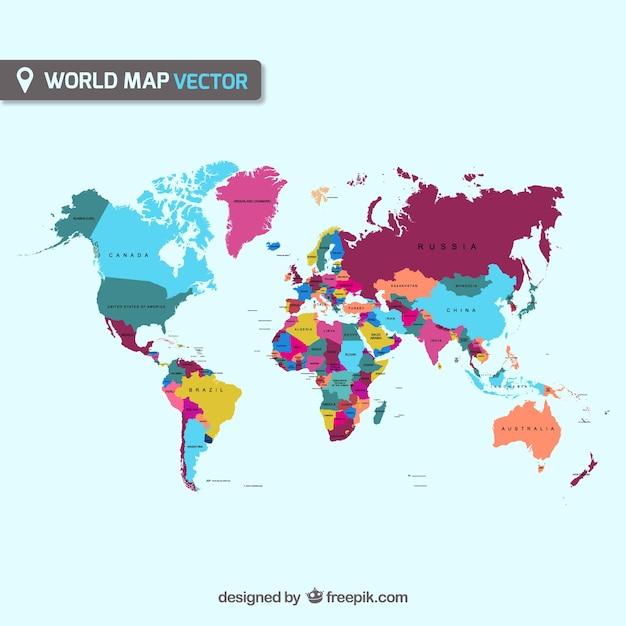 Cartina Geografica Mondo Gratis.Mappa Del Mondo Vettoriale Vettore Gratis