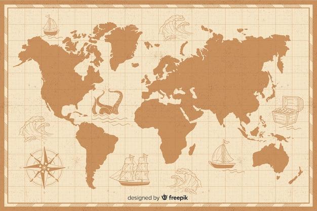 Mappa del mondo vintage con bordi Vettore gratuito