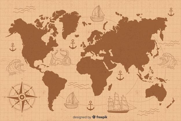 Mappa del mondo vintage con disegno Vettore gratuito