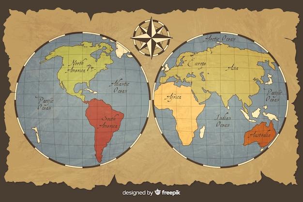 Mappa del mondo vintage con pianeta Vettore gratuito