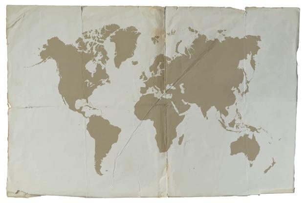 Mappa del mondo vintage Vettore Premium