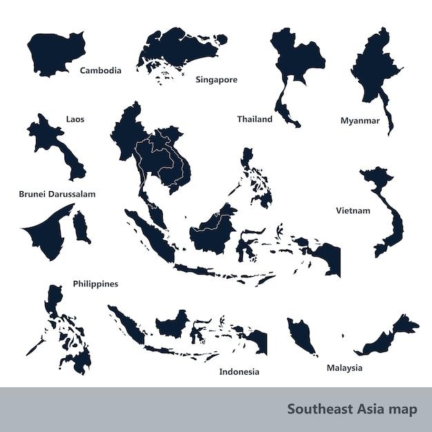 Mappa del sud-est asiatico Vettore Premium