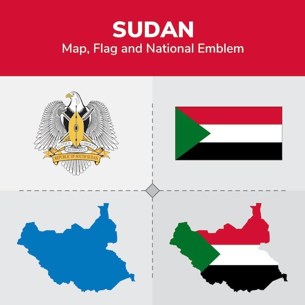 Mappa del sudan, bandiera e emblema nazionale Vettore Premium