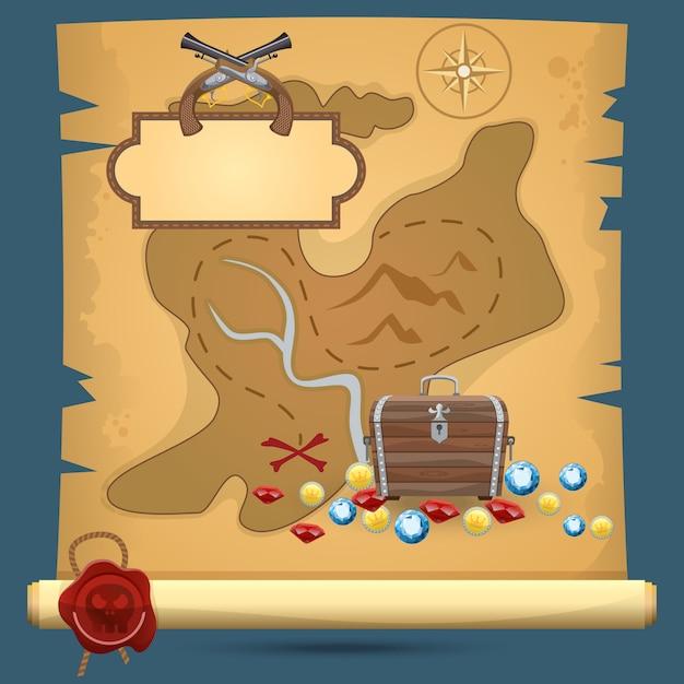 Mappa del tesoro dei pirati Vettore Premium