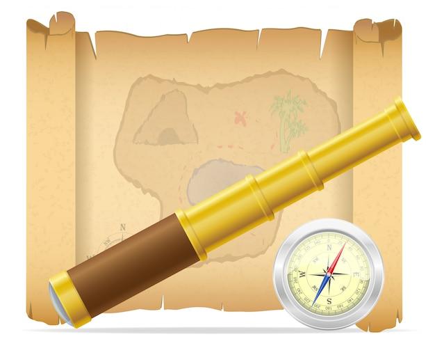 Mappa del tesoro pirata e telescopio con illustrazione vettoriale bussola Vettore Premium