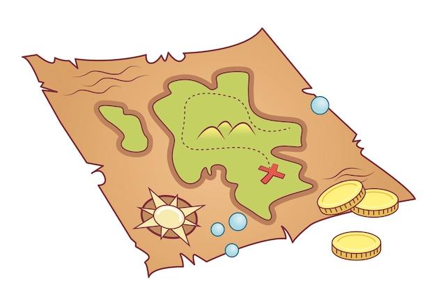 Mappa del tesoro Vettore Premium