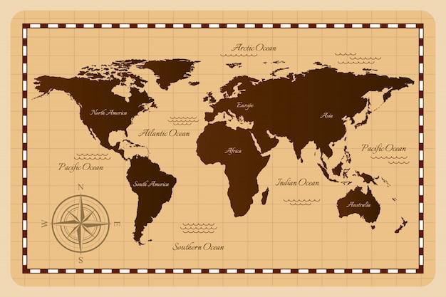 Mappa del vecchio mondo. illustrazione. Vettore Premium
