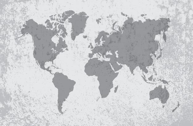 Mappa del vecchio mondo sporco Vettore Premium