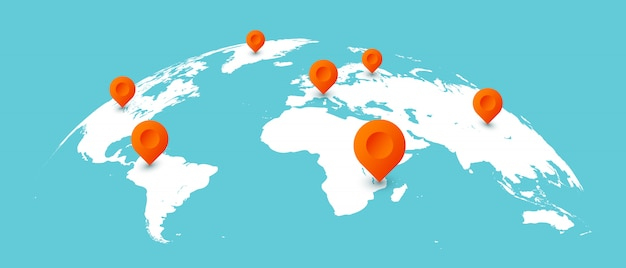 Mappa del viaggio mondiale. perni sulle mappe della terra globale, illustrazione isolata comunicazione commerciale in tutto il mondo Vettore Premium