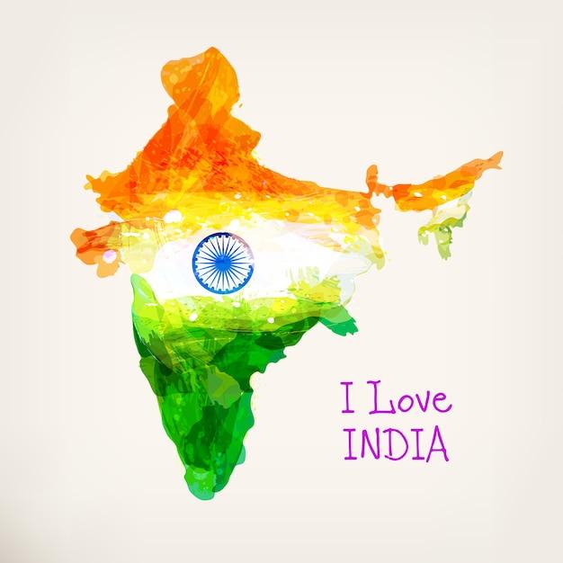 Mappa dell'acquerello disegnato a mano indiano Vettore Premium