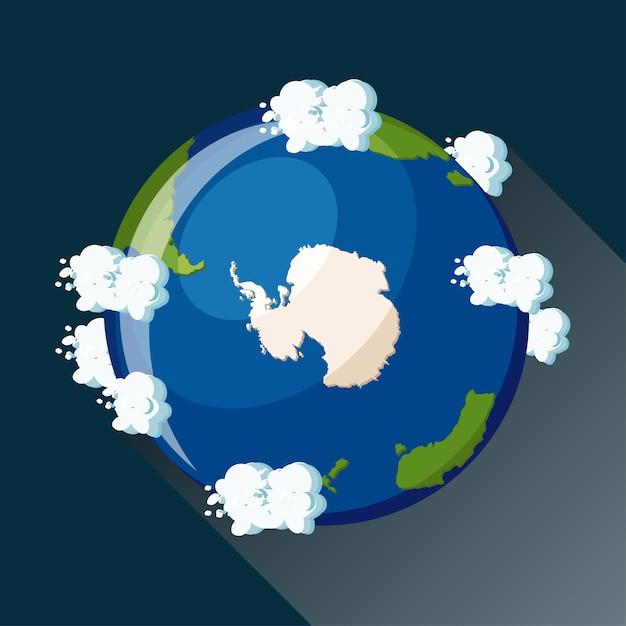 Mappa dell'antartide sul pianeta terra, vista dallo spazio. icona del globo di antartide. Vettore Premium