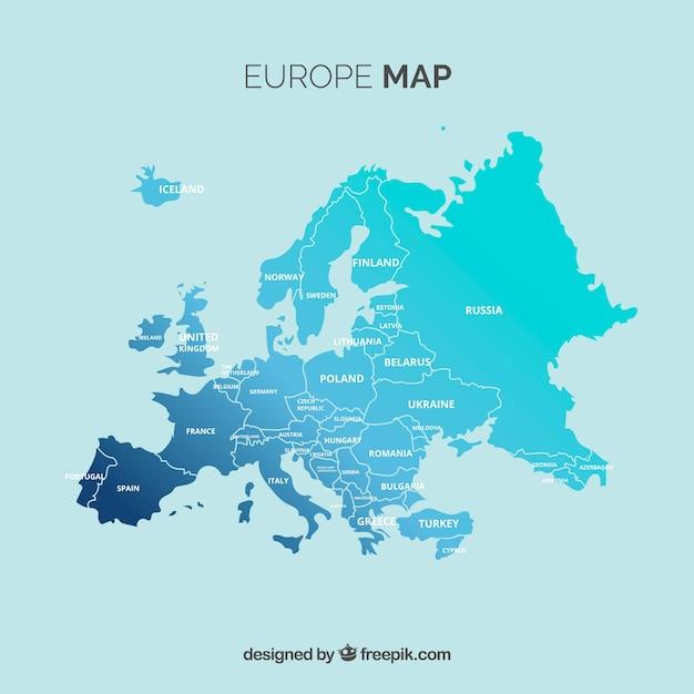 Mappa dell'europa con i colori in stile piatto Vettore gratuito