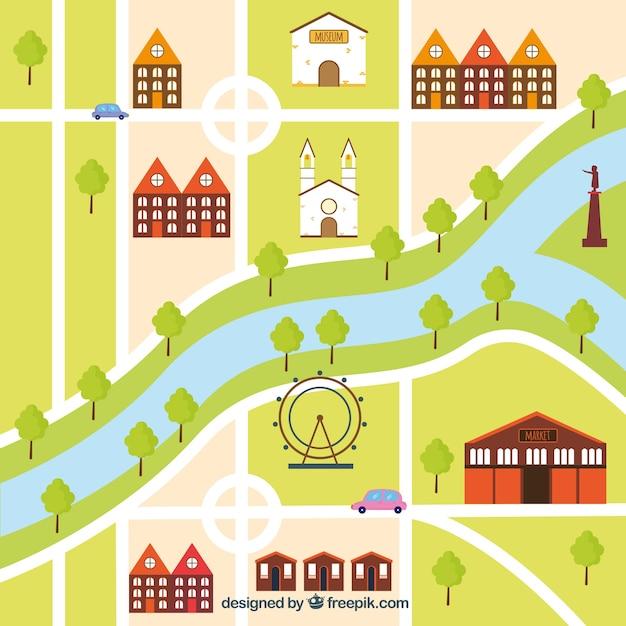 Mappa della citt con disegno piatto scaricare vettori for Disegnare una piantina