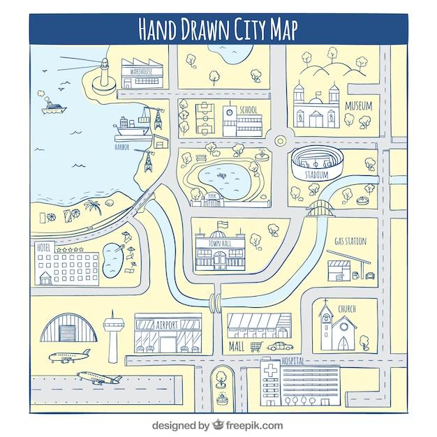Mappa della città disegnata a mano Vettore gratuito