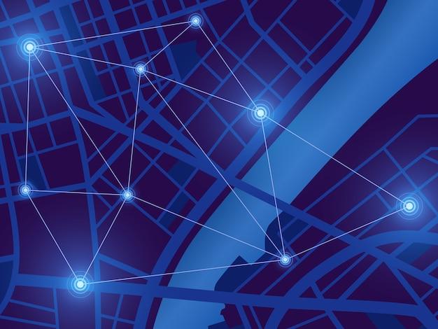 Mappa della città futuristica. monitoraggio della posizione gps. città di notte digitale vista dall'alto. sfondo tecnologia di navigazione Vettore Premium