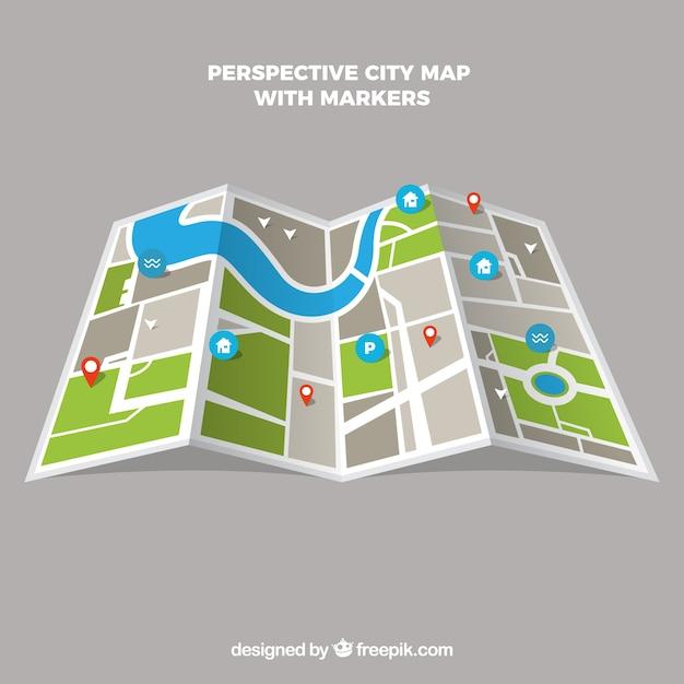 Mappa della città in prospettiva con marcatori Vettore gratuito